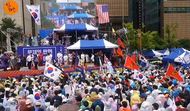 GSOMIA 破棄 韓国 大統領退陣 集会 ソウル駅・文在寅大統領退陣要求デモの画像